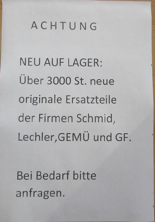 Neue Ersatzteile- Schmid-Lechler-GEMÜ- GF